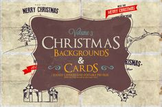 Christmas Background & Cards Vol.3 by Zeppelin Graphics on @creativework247