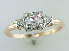 Antique 14k/18k Gold .62 Art Deco Diamond Solitaire Engagement Ring 6.25 w/ Accents by UnderdogVintage on Etsy https://www.etsy.com/listing/228122941/antique-14k18k-gold-62-art-deco-diamond