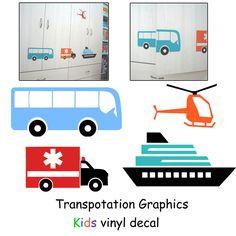 Bus, Ship, Ambulance & Helicopter Transportation Kids Vinyl Decal ...