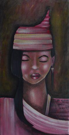 "VWL/ASIA/002  (Paris 2013 "" POINTY HAT"")-Acrylic on canvas/Acrylique sur toile/Acrylico sobre tela (30X60cm)"
