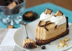 peanut butter pie, with an oreo crust, whipped ganache layer, and peanut butter mousse