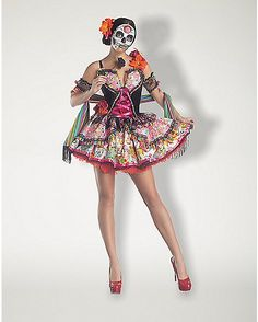Adult Day of the Dead Dress Costume - Spencer's, $59.99