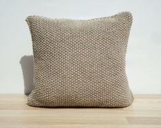 Knitting Pillow Beige Pillow Home Decor by GreenCatStudio on Etsy