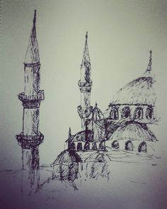 "12 Beğenme, 1 Yorum - Instagram'da Zeynep K E (@zynp.krbdk): ""#mydrawing #sketch #sketchwork #mosque #cami #eskiz #minare #kubbe #artline #art #drawing"""