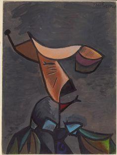 Head, by Albert Tucker, 1948. Gouache pastel, brush and ink.