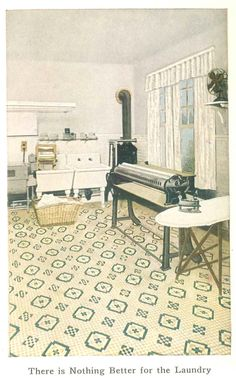 Laundry room with inlaid linoleum floor from 1921 linoleum catalog.
