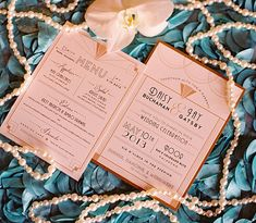 Art Deco Wedding Invitation, Great Gatsby wedding, shimmer paper, custom colors