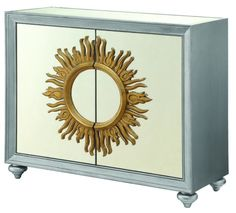 Coaster 950709 40 Inch Accent Cabinet with 2 Mirrored Glass Doors, Decorative Sun Motif Overlay, 2 Interior Shelves and Short Bun Feet in Silver Mirrored Furniture, Wood Furniture, Furniture Storage, Wood Storage Cabinets, Storage Shelves, How To Store Shoes, Coaster Furniture, Cabinet Colors, Discount Furniture