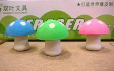 Set 3 Gomme per Cancellare Funghetti Mushrooms Rubbers Erasers Collection