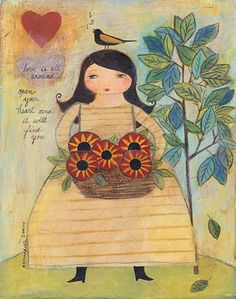 Mixed media folk art painting of a girl by AcornHillPrimitives, $154.00