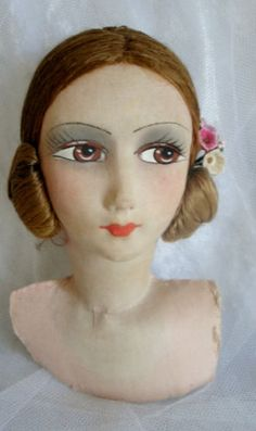Beautiful-Antique-Silk-Face-French-boudoir-doll-head-has-been-stored-away-as-new