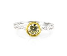 An White and Yellow Gold Diamond Ring with a Fancy Cape Diamond in the Center Gold Diamond Rings, Diamond Engagement Rings, Solomon, Colored Diamonds, Jewelry Collection, Cape, Fancy, Jewels, Yellow