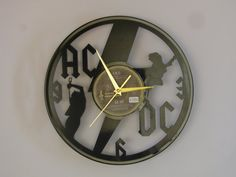 ac/dc clock, ac/dc, acdc, rock n roll, bon scott, ac/dc art, vinyl record clock, vinyl clock, wall clock, music art