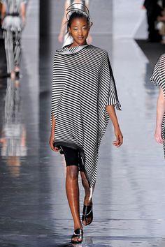 Issey Miyake Paris Show asymetrical pleated top & bike shorts