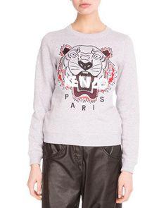 1f1cc34e1 Kenzo Light Brushed Cotton Tiger Sweatshirt, Light Gray Kenzo, Graphic  Sweatshirt, Floral,