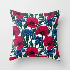 Buy Red poppies and blue cornflowers on white Throw Pillow by katerinamitkova. Worldwide shipping available at Society6.com. Just one of millions of high quality products available. White Throw Pillows, Couch Pillows, Down Pillows, Accent Pillows, Home Decor Sets, White Throws, Red Poppies, Designer Throw Pillows, Pillow Design