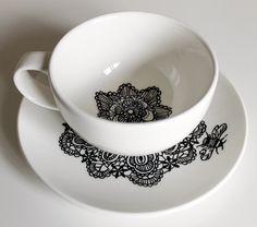Queen Bee hand illustrated teacup and saucer by yvonneellen, $22.00
