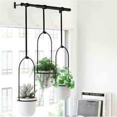 Perfect for your flat or apartment; get your hands on one of these Umbra Triflora Hanging Planters. Inspired by church bells and DIY hacks; this trio of durable melamine planters hang on a metal rod design, making it easy to water and display plants in yo Ceramic Wall Planters, Metal Hanging Planters, Hanging Pots, Indoor Wall Planters, Ikea Hanging Planter, Modern Planters, Plastic Planter Boxes, Window Planter Boxes, Window Plants