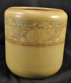 Lovely Marblehead Pottery Rabbit Matte Finish Vase NR