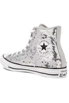 c2f95085b7e1 Converse - Chuck Taylor All Star Sequined Canvas High-top Sneakers - Silver
