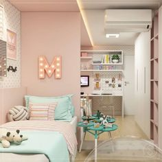 45 stylish & chic kids bedroom decorating ideas for girl and boys 25 Girl Bedroom Designs Bedroom Boys Chic Decorating Girl Ideas Kids Stylish Cute Bedroom Ideas, Cute Room Decor, Girl Bedroom Designs, Teen Room Decor, Small Room Bedroom, Kids Bedroom, Teen Bedroom Colors, Trendy Bedroom, Unique Teen Bedrooms