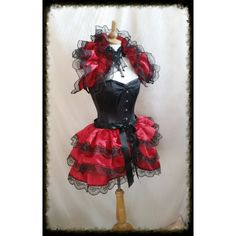 Halloween Blood Red Gothique Bustle Skirt and Shrug Set Goth Steampunk... ($89) ❤ liked on Polyvore featuring black, skirts, women's clothing, red shrug cardigan, shrug cardigan, black shrug, dressy shrugs and dressy black shrug