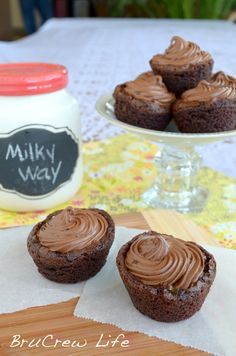 Milky Way Brownie Cups - 4 ingredients is all you need to make these decadent brownie bites http://www.insidebrucrewlife.com