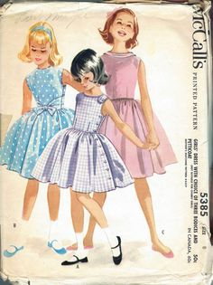 Girls Size 8 Full Skirt Sleeveless Boat Neck Dress With Petticoat  McCalls Sewing Pattern 5385 Size 8 Breast 26