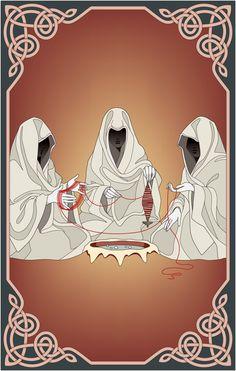 Illustrations The three Norns? Odin Norse Mythology, Greek Mythology, Greek Creatures, Yggdrasil Tattoo, Nordic Tattoo, Asatru, Deities, Architecture Art, Cute Art
