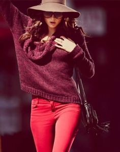Red wine colored top with red skinnies...perfect way to wear colored skinnies during fall!