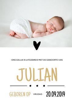 Gouden letters, een foto en hartjes. Dit lieve geboortekaartje voor een jongen is zo leuk! Zayn