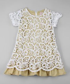 Love this White & Taupe Lace Overlay Dress - Toddler & Girls on #zulily! #zulilyfinds
