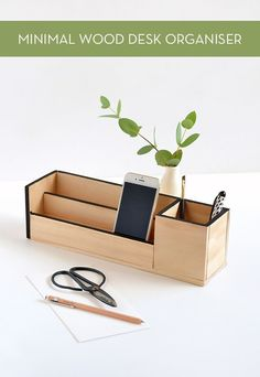minimal wood desk organiser