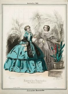 1860s. I love that blue green dress color!