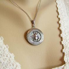 Honeybee locket  Bee necklace Silver honeybee by CreatedinTheWoods