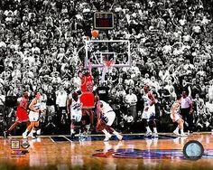 Chicago Bulls Michael Jordan Last Shot, 1998 NBA Finals NBA Basektball Photo
