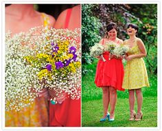 Bright colors and baby's breath bouquets