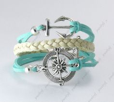 Antique Silver,Infinity Bracelet,anchor bracelet,rudder bracelet,compass bracelet,multistrand leather bracelet with charms. $2.99, via Etsy.