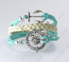 Antique Silver,Infinity Bracelet,anchor bracelet,rudder bracelet,compass bracelet,multistrand leather bracelet with charms. $2.99, via Etsy.