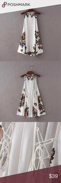 Fall gypsy boho dress Sleeveless. Material: rayon. Dresses Mini