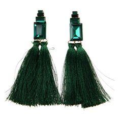 THZY Bohemian Silk Long Tassel Dangle Earrings Inlay Big Crystal Wedding Party Fashion Earring Gift Green #bohemianweddings