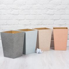 There's nothing boring about our bins! They will easily brighten up a corner of your workspace or home. All our beautiful handmade stationery and storage products are produced in an eco-friendly way, from 100% recycled materials.