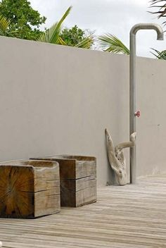 block stump seats and boffi outdoor shower Outdoor Living Rooms, Outside Living, Outdoor Spaces, Outdoor Baths, Outdoor Bathrooms, Outdoor Showers, Exterior Design, Interior And Exterior, Gazebos