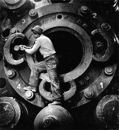 Hommage to Charlie Chaplin: Usine de métaux de Castelnaudary 1949,by Jean Dieuzaide