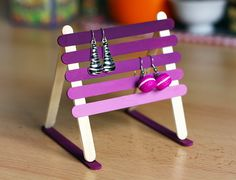 Popsicle stick earring rack
