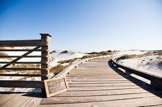 Beautiful boardwalk at WaterSound Beach in Florida