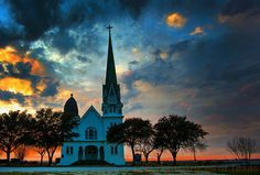 jeremylawson:  Beautiful sunset  A beautiful Central Texas sunset/church - not sure where exactly this is though - but was too pretty not to share.