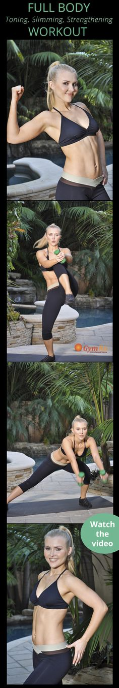 Get summer ready with this total body dumbbell workout! You'll be working your abs, core, butt, legs, shoulders, back, and chest. Click the image to watch the entire workout!