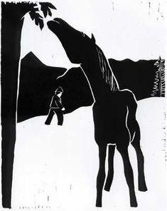 Werner Berg (Austria, 1904-81): Vom Baum fressendes Pferd, woodcut, 1932