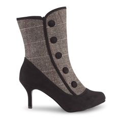 Enchanting Tweedy Ankle Boots Add a little Victoriana elegance to your style in these gorgeous tweedy boots. With decorative buttons they'll give any outfit an opulent edge.